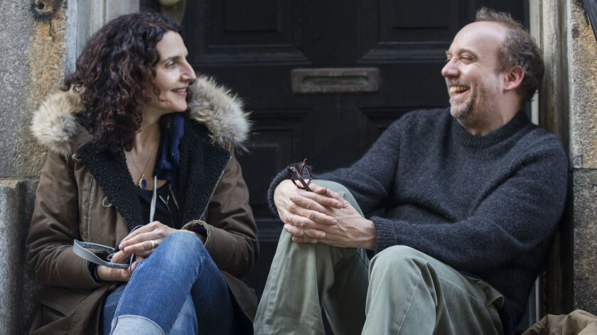"""Director Tamara Jenkins and actor Paul Giamatti on the set of """"Private Life"""" on Netflix."""