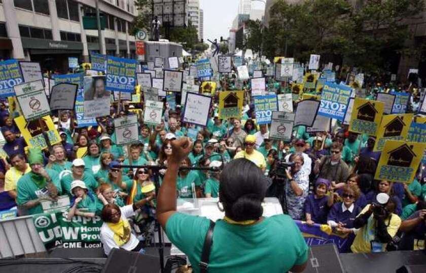 A budget reform will land on their shoulders: Advocates for the disabled rally in Los Angeles in 2009.
