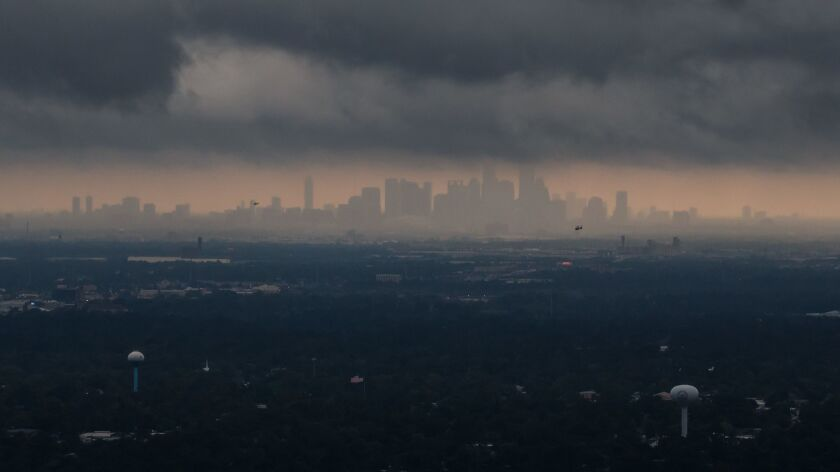 HOUSTON, TEXAS -- TUESDAY, AUGUST 29, 2017: A view of Hurricane Harvey's storm clouds moving east re