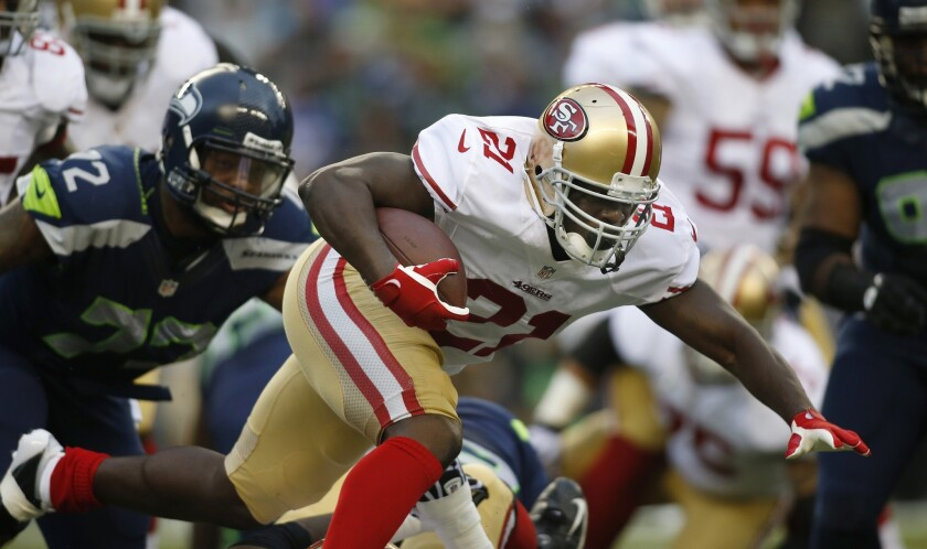 Running back Frank Gore was held to 12 yards on three carries in the second half of the San Francisco 49ers' loss to the Indianapolis Colts on Sunday.