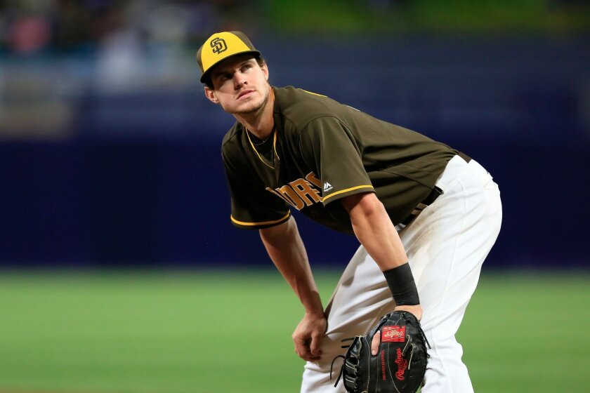 .Padres Wil Myers looks to the crowd as the Padres take on the Dodgers at Petco Park Friday..