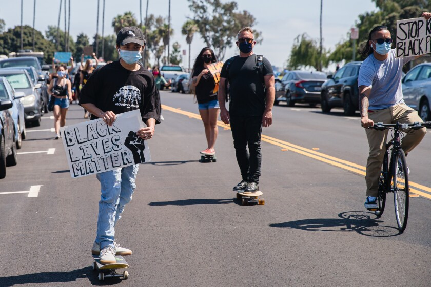 "Protesters at the ""Skate for Black Lives Matter"" protest at Tecolote Shores Park on June 27, 2020 in Mission Bay."