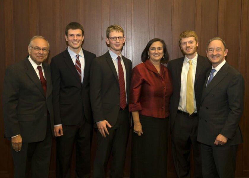 Suren G. Dutia, ViFlex co-founders Nathan Brajer and Evan Madill, Jas K. Grewal, Nanopore Diagnostics co-founder Tom Cohen, and Washington University Chancellor Mark S. Wrighton.