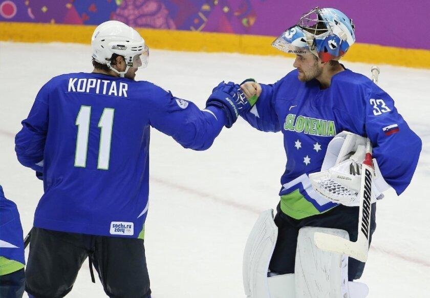 Slovenia Olympic hockey players Anze Kopitar and Robert Kristan.