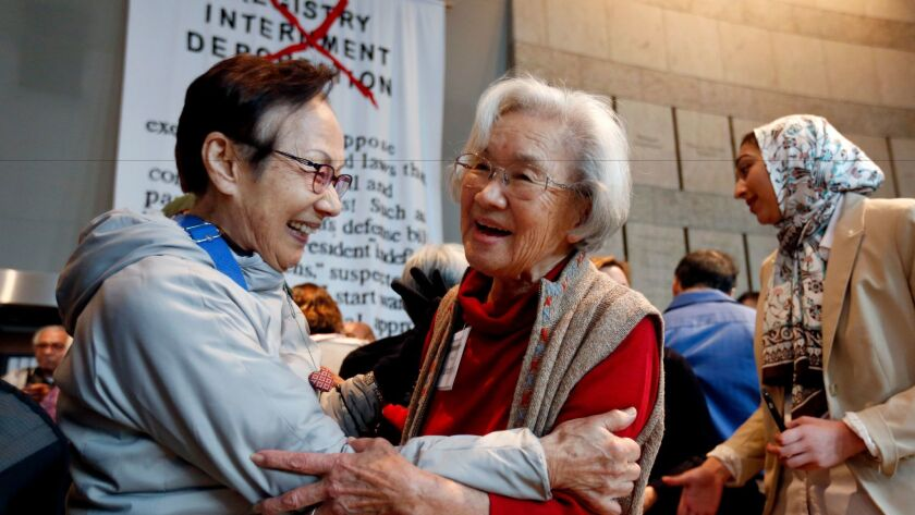Yae Aihara of Los Angeles and Haru Kuromiya of South Pasadena -- who were both incarcerated in Crystal City, Texas -- meet Saturday at the remembrance after decades of not seeing each other.