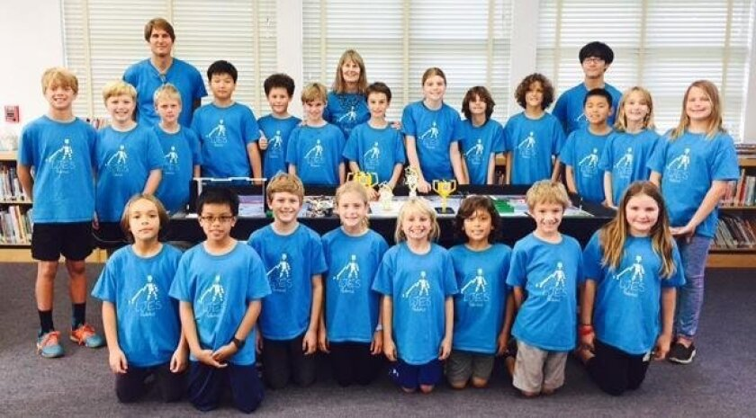 La Jolla Elementary School's 2015 robotics team. Front row: Adric Caillile, Jax Espinosa, Will MacDonald, Annie Peppers, Gigi Smith, Sam Grudko, Nathan Wittkow, Bradliegh Ryan. Middle row: Luca Gessner, Trey Guccini, Ben Haswell, Richard Yoon, Brenden Lewis, Evan Krebs, Michael Khamishon, Sarah Kap