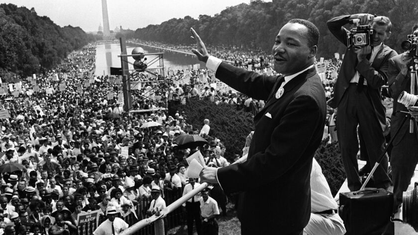 "The Rev. Martin Luther King Jr. at the March on Washington in August 1963, four months after writing his ""Letter From Birmingham Jail."""