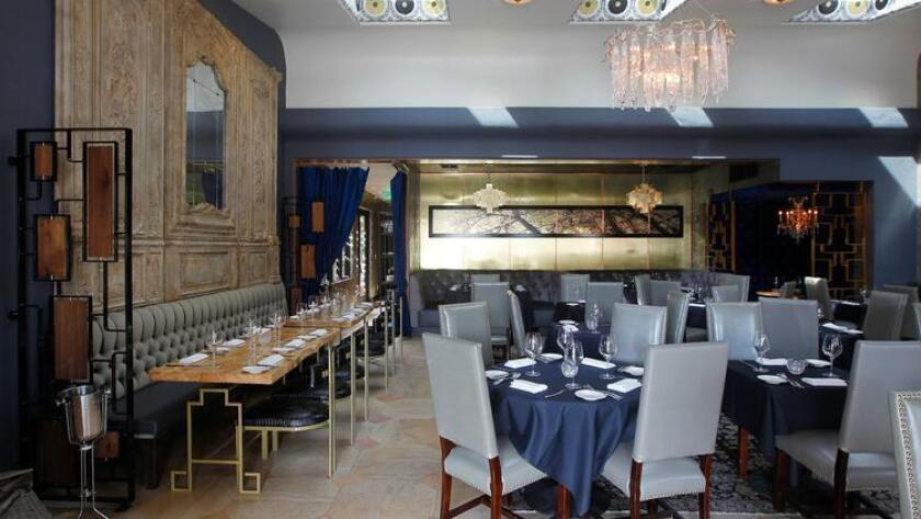 The dining room of the former Ponsaty's fine-dining restaurant, which closed Sunday in Rancho Santa Fe. The restaurant will reopen on Aug. 18 as Nick & G's, a moderately priced Italian restaurant serving housemade pasta, flatbreads, steaks and seafood. (K.C. Alfred / San Diego Union-Tribune)