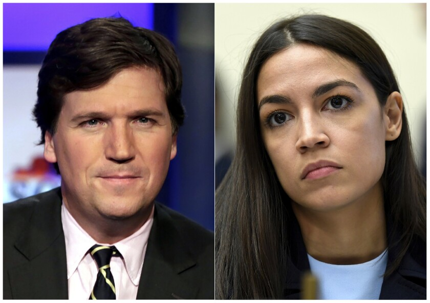 """This combination photo shows Tucker Carlson, host of """"Tucker Carlson Tonight,"""" poses for photos in a Fox News Channel studio in New York on March 2, 2017, left, and Rep. Alexandria Ocasio-Cortez, D-N.Y., listens as Federal Reserve Chairman Jerome Powell testifies before the House Financial Services Committee on Capitol Hill in Washington. A day after Carlson aired a segment describing her congressional district as """"filled with garbage,"""" Ocasio-Cortez criticized the network on Wednesday for airing """"unmitigated racism"""" with no accountability. (AP Photo)"""