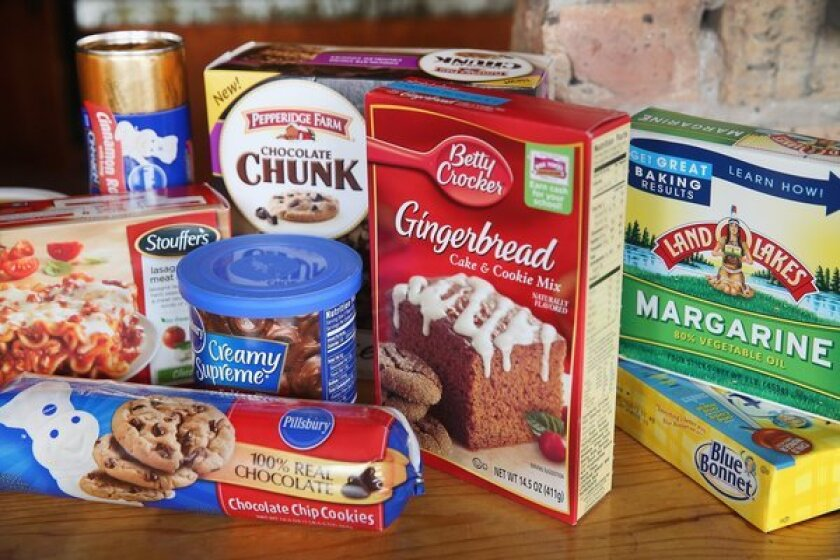 The U.S. Food and Drug Administration has proposed a rule change that would eliminate trans fat from all processed foods. A number of products that contain trans fats are pictured.