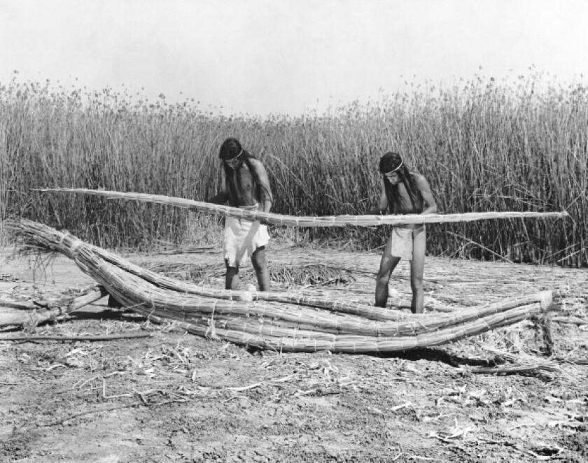 Yokuts Making Tule Boats