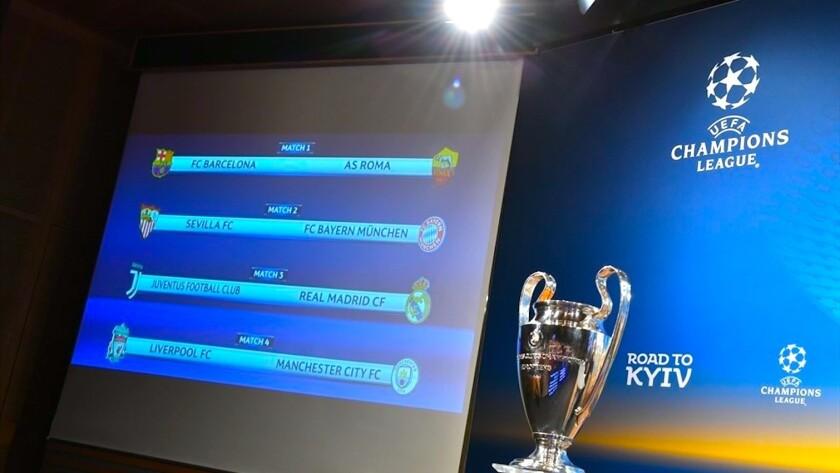 El sorteo de la Liga de Campeones para los cuartos de final.