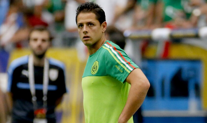 "Javier ""Chicharito"" Hernández warms up prior to a Copa America match against Uruguay in June 2016."