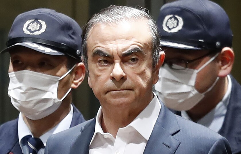 Former Nissan Chairman Carlos Ghosn leaves Tokyo's Detention Center on April 25 after posting bail.
