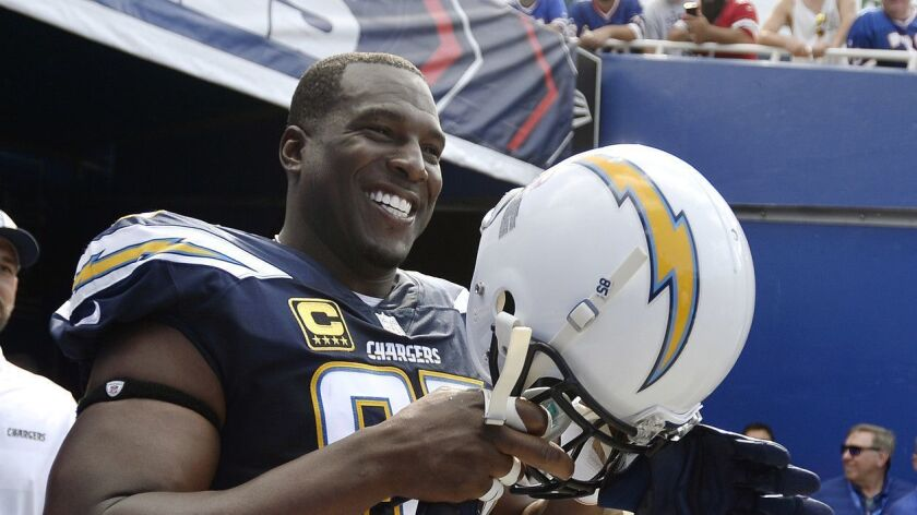 Los Angeles Chargers tight end Antonio Gates walks to the field before an NFL football game against