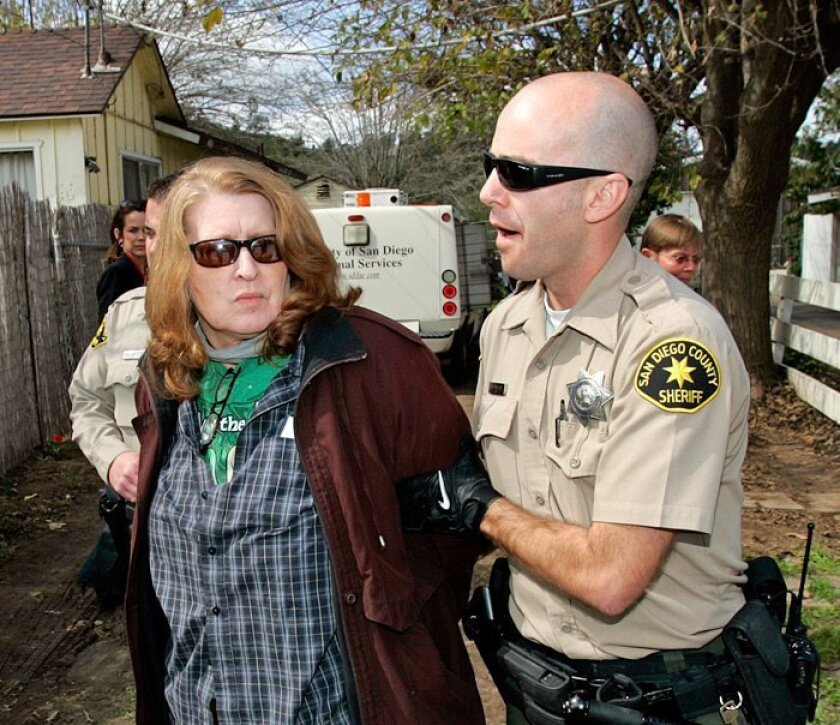 Alice Via was arrested March 10, 2010, at her Lakeside home.