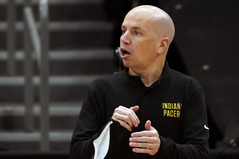FILE - Indiana Pacers head coach Nate Bjorkgren calls a play against the Toronto Raptors during the first half of an NBA basketball game in Tampa, Fla., in this Sunday, May 16, 2021, file photo. The Pacers fired Nate Bjorkgren on Wednesday, June 9, 2021, after missing the playoffs in his only season as coach. (AP Photo/Chris O'Meara, File)