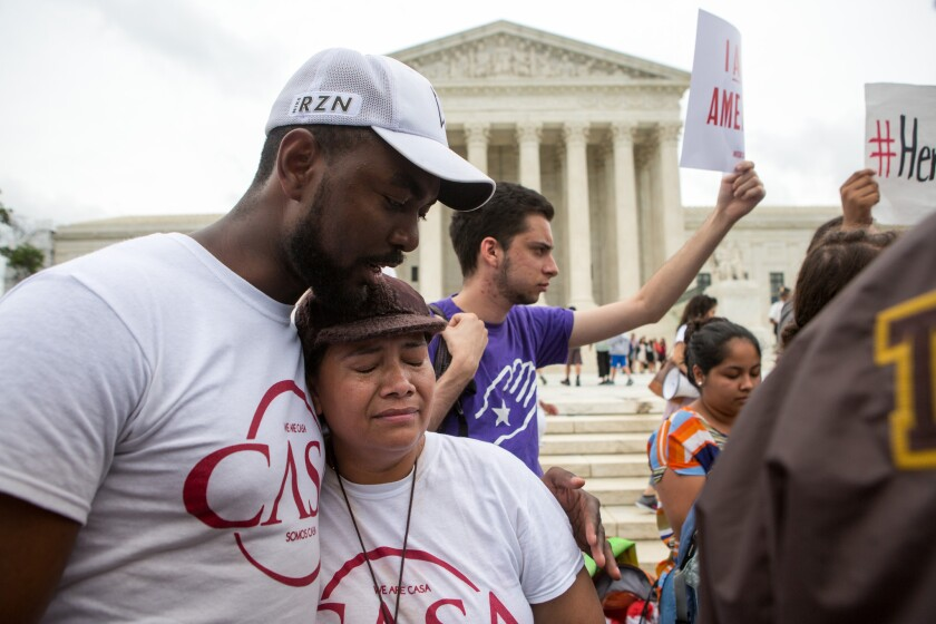 Rosario Reyes, a Salvadoran mother in the U.S. illegally, reacts to the Supreme Court deadlock that blocks Obama's immigration reform plan.