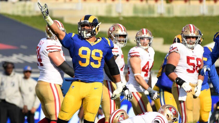 LOS ANGLELES, CA. DECEMBER 30, 2018-Rams Aaron Donald celevrates his sack of 49ers quarterback Nick