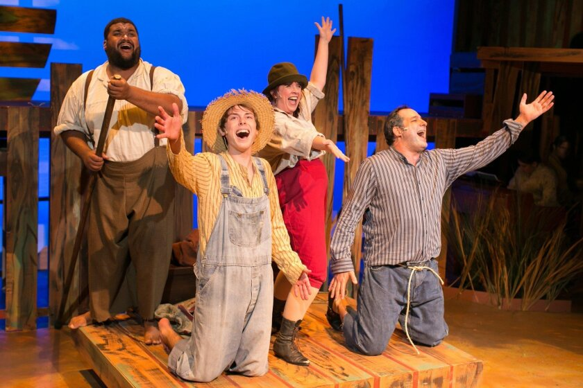 """8 p.m. Thursdays-Fridays; 3 and 8 p.m. Saturdays; 2 p.m. Sundays. Through May 15. New Village Arts Theatre, 2787 State St., Carlsbad. About $47 (discounts available). Details. It's been a long time since """"Big River"""" — whose pre-Broadway production went up at La Jolla Playhouse in 1984 — has seen a full professional staging in San Diego. But New Village Arts gives the Tony Award-winning musical a worthy homecoming with this lively revival."""