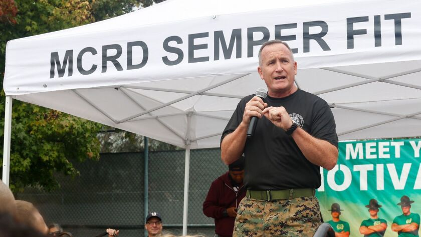 Brig. Gen. William M. Jurney, commander of Marine Corps Recruit Depot San Diego, gives his opening remarks during the 16th annual MCRD Boot Camp Challenge on Oct. 14. MCRD San Diego hosted the three-mile obstacle race open to military members and civilians.
