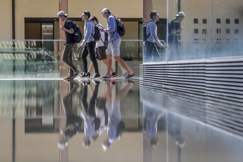 CLAREMONT, CA, THURSDAY, MARCH 14, 2019 - Students on campus at Claremont-McKenna College. In the wa