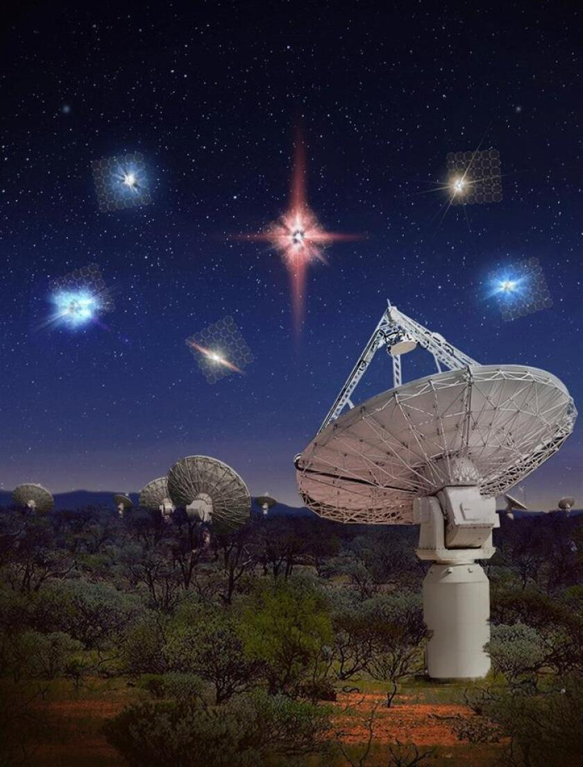 Imágen cedida por el International Centre for Radio Astronomy Research (ICRAR), del radiotelescopio australiano que descubrió una veintena de explosiones de radio rápidas (FRB, siglas en inglés), lo que casi duplica el número conocido de estos poderosos destellos de ondas de radio en el espacio profundo, según un estudio publicado hoy. EFE/ International Centre for Radio Astronomy Research (ICRAR)