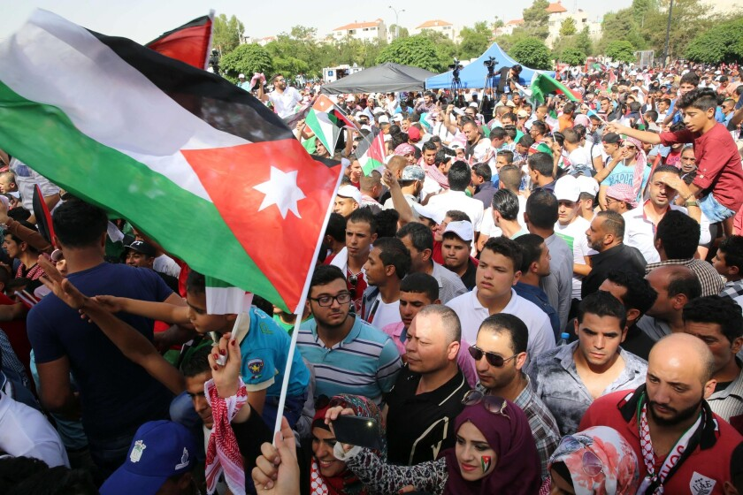 Jordanians gather in Amman on June 3, 2016, to celebrate the centennial of the Great Arab Revolt, which was led by King Abdullah II's great-grandfather.