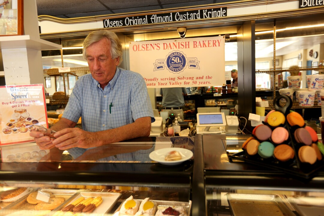 """After the war, that was not very good times,"" said Bent Olsen, 76, owner of Olsen's Danish Village Bakery, and continues to sell pastries and coffee to go in Solvang. ""We kind of learned how to tighten our belt,"" he concluded."