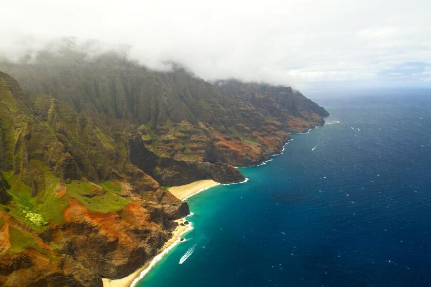 The amazing rugged mountains and the Kalalau Trail of the Napali Coast in Kauai.