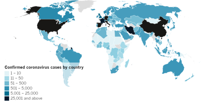 Confirmed COVID-19 cases by country as of 8:00 p.m. Wednesday, March 25, 2020.