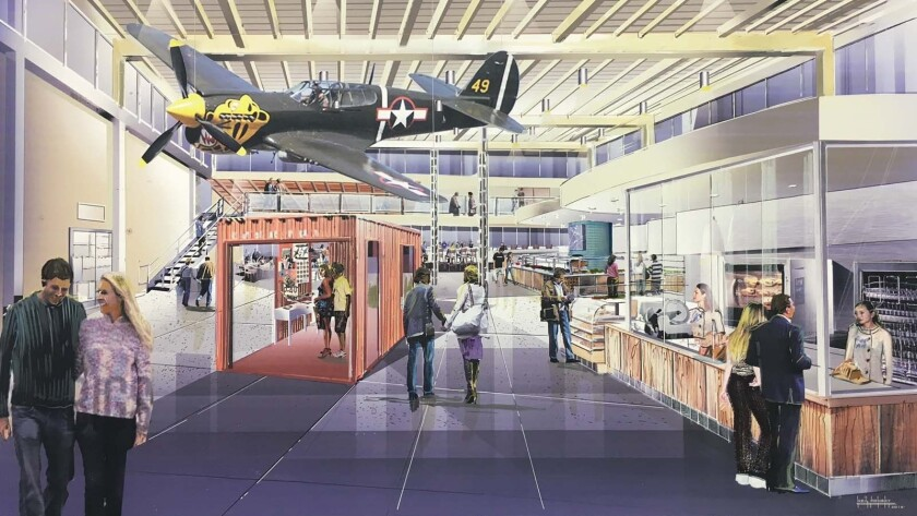 The Proud Bird restaurant will transform into a large food hall over the next 10 months. Pictured is a rendering of the new food hall.