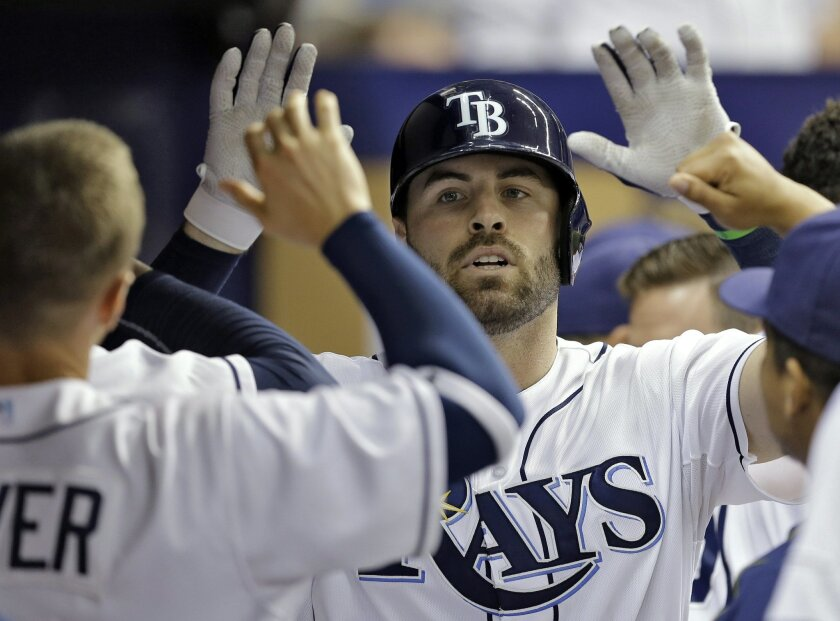 Tampa Bay Rays' Curt Casali high-fives teammates in the dugout after his home run off Detroit Tigers starting pitcher Anibal Sanchez during the third inning of a baseball game Monday, July 27, 2015, in St. Petersburg, Fla. (AP Photo/Chris O'Meara)
