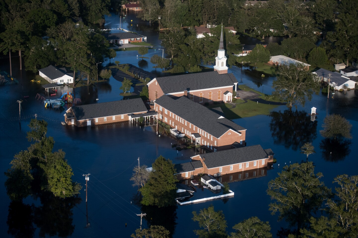 A church is surrounded by floodwaters from Hurricane Florence in Conway, S.C.