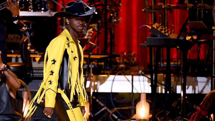 Lil Nas X performs onstage at the 2019 BET Awards on June 23.