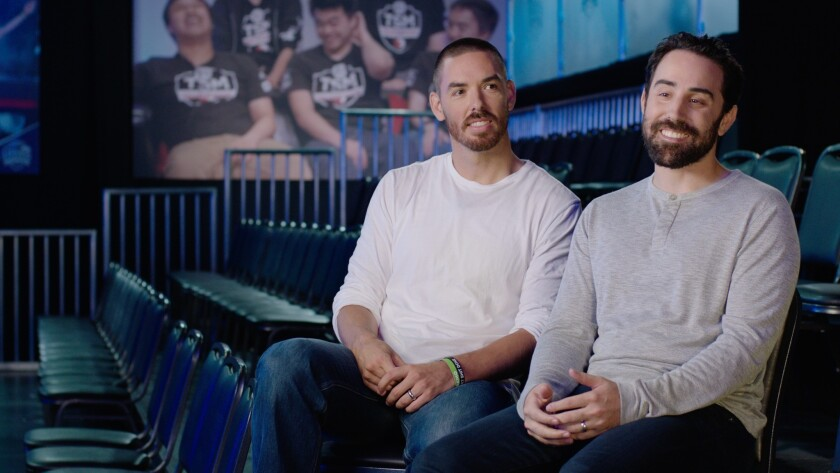 Riot Games co-founders Marc Merrill and Brandon Beck in 2016.