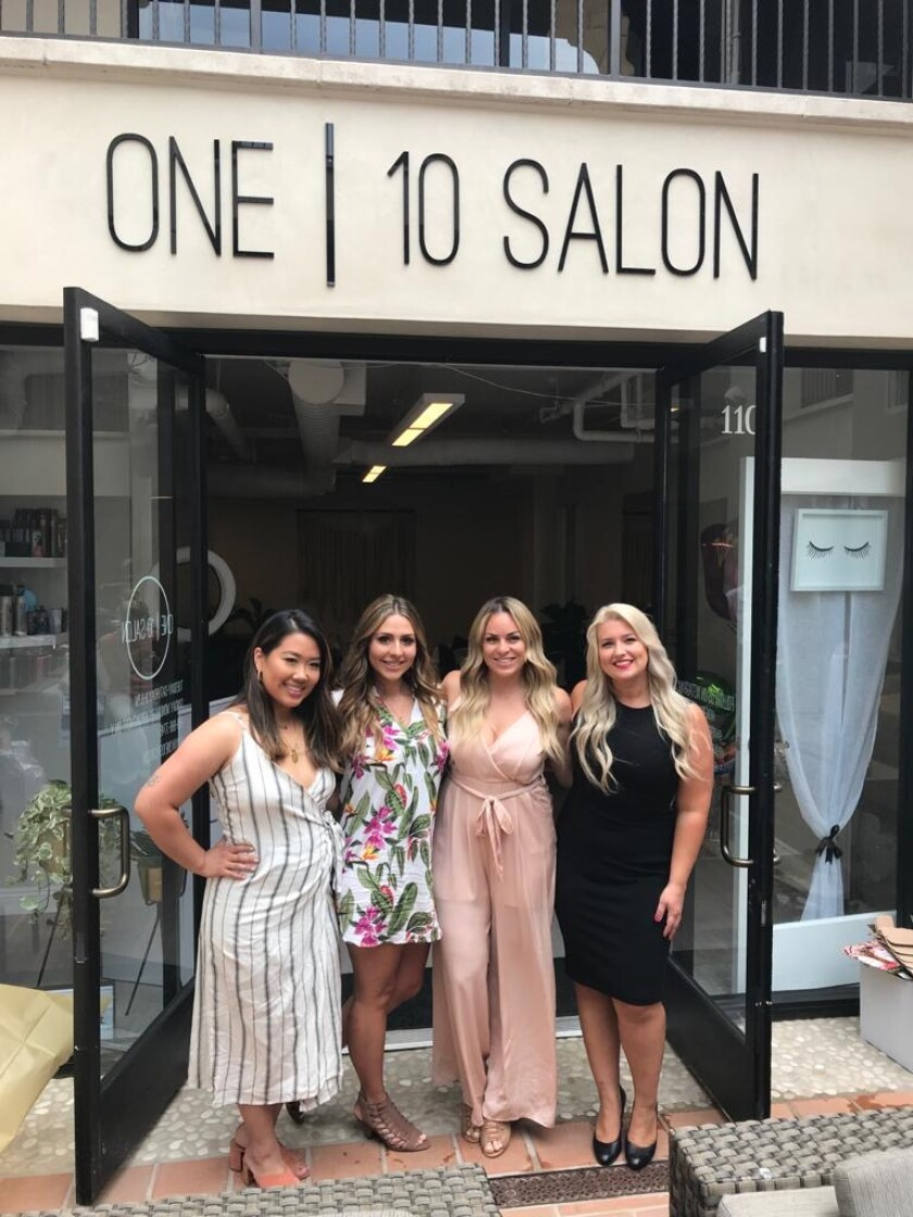 Roselle Rabara, Melanie Menin, Andrea Mills and Jenna Brader (from left) own One 10 Salon on Girard Avenue in La Jolla. The salon reopens Monday, June 1, after a mandated closure because of the coronavirus pandemic.