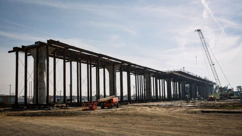 A 3,700-foot viaduct being built by Tutor Perini Corp. as part of the bullet train route in Fresno County.