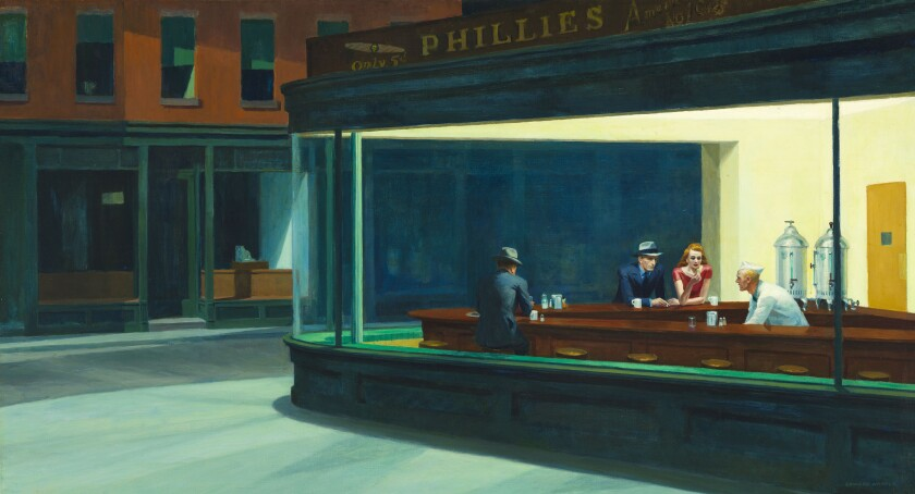 "Edward Hopper, ""Nighthawks,"" 1942. Oil on canvas."