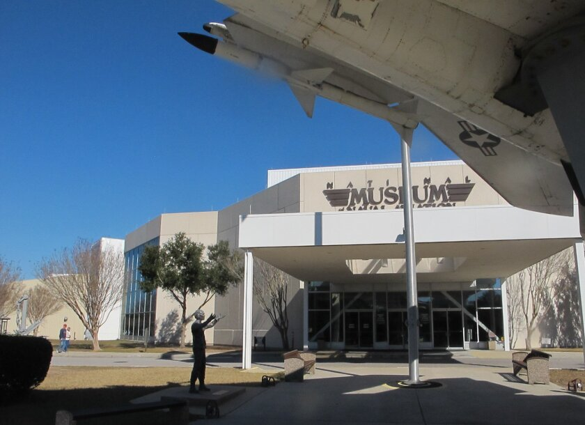 In this Jan. 29, 2016 photo shows the entrance to the National Naval Aviation Museum in Pensacola, Fla. The naval base is making it harder for the public to access certain areas of the waterfront base popular with the public as the home of the Blue Angels, the museum and prime beaches. (AP Photo/Melissa Nelson)