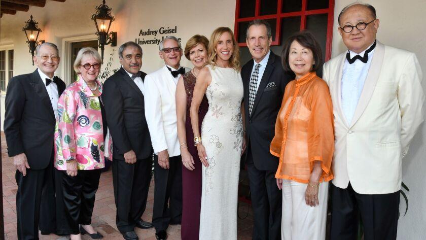 Edward and Martha Dennis (SummerFest honorary chairs), Pradeep Khosla (UCSD chancellor; gala host),