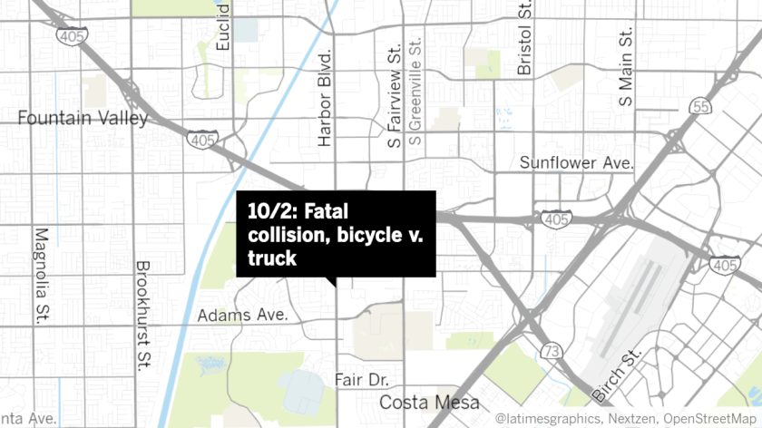 Fatal truck, bicycle collision on Costa Mesa's Harbor Boulevard