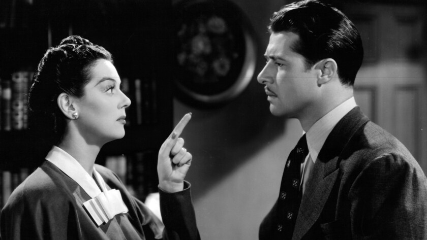 "Rosalind Russell and Don Ameche in ""The Feminine Touch."""