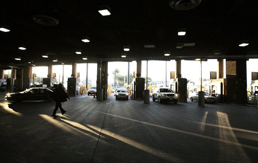 The US port of entry at San Ysidro is the world's busiest land border crossing, processing millions of people a year through 24 car lanes and a pedestrian processing area.