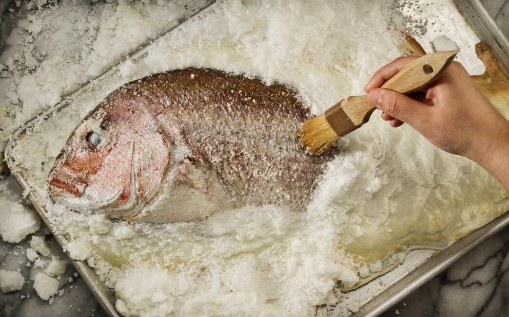 Salt-roasted sea bass