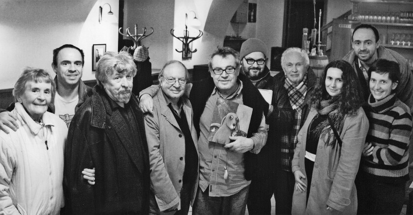 """Filmmakers Ivan Passer and Milos Forman, fourth and fifth from left, respectively, with friends and family in Prague in May 2007, including cinematographer Miroslav """"Mirek"""" Ondricek, third from left, and Forman's twin sons, Petr, second from left, and Matej, second from right."""