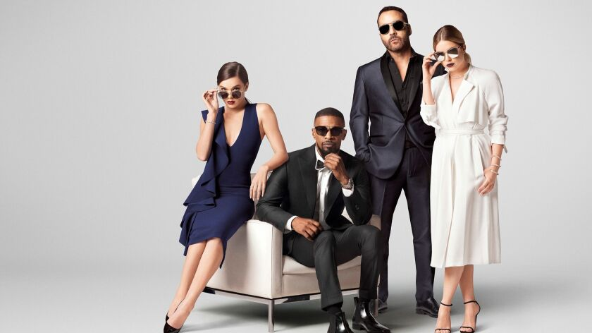 Haliee Steinfeld, Jamie Foxx, Jeremy Piven, and Ashley Benson in Privé.
