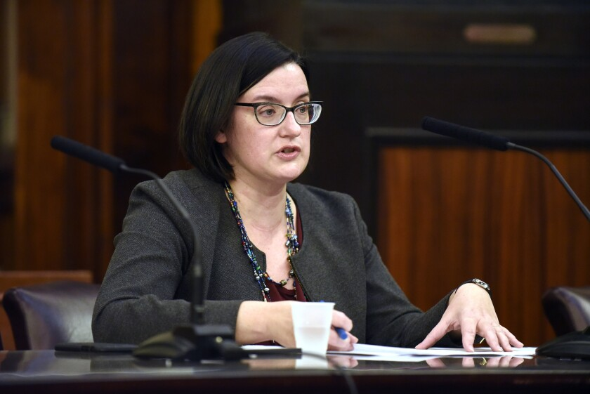 Margaret Garnett, DOI nominee, speaks during a confirmation hearing for new DOI Commissioner in City Council Chambers Monday, Nov. 26, 2018 in New York.