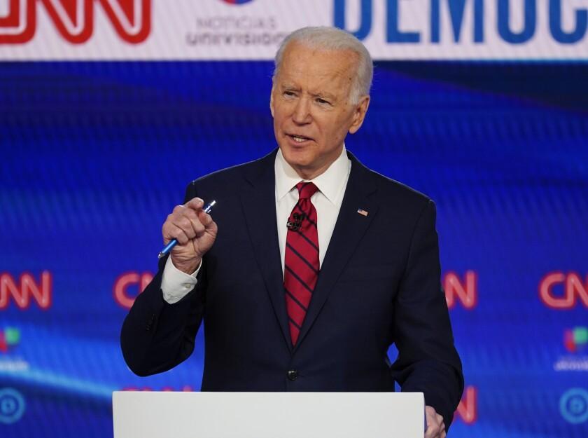 Former Vice President Joe Biden, shown at a March debate.