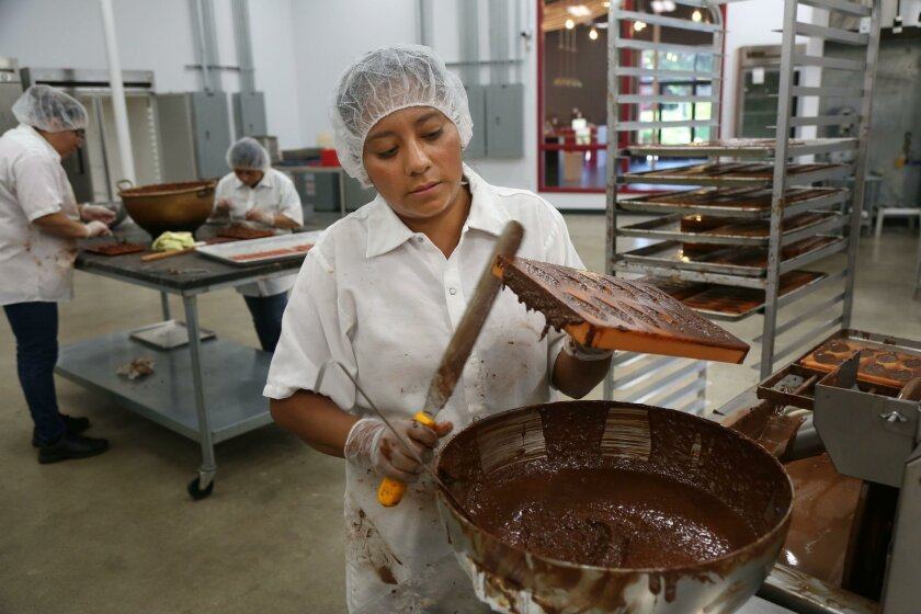 Julia Gota fills molds with chocolate at Chuao Chocolatier in Carlsbad. Chuao's products can be found at Starbucks and Whole Foods.